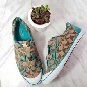 Coach Britt Sneakers Signature Brown Logo Teal 10